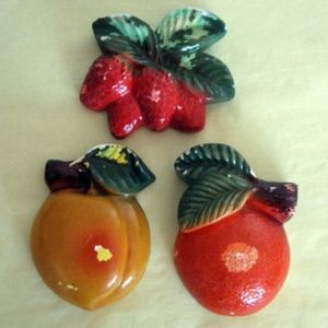 Three Chalkware Vintage Fruit Plaques